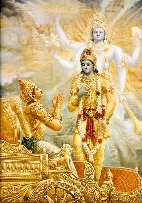 Krishna teaching Arjuna